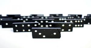 Dominos arranged in formation
