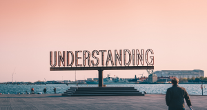 Sign by water which reads 'Understanding', with pink sky background