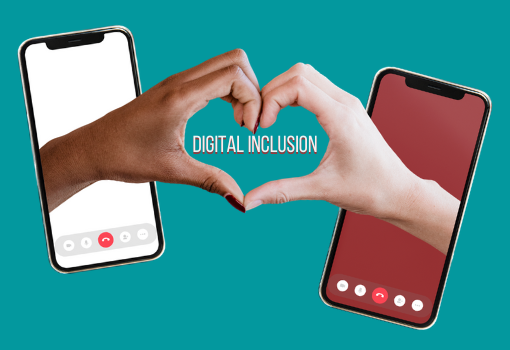 Digital inclusion graphic with hands reaching out from smartphones to connect
