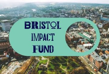 Bristol Impact Fund text with view over central Bristol