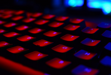 Computer keyboard with red light