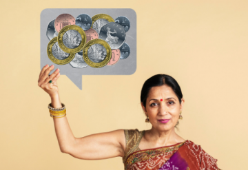 Woman in sari holding up speech bubble with coins in
