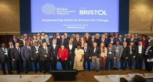 Global Parliament of Mayors in Bristol for 2018 Summit, in front of Presentation Credit Local Government Chronicle