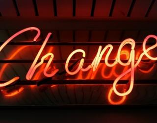 Neon sign with the word 'change'