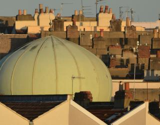 A Bristol roof top view of Totterdown Mosque and nearbye houses