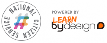 Logo: Multicoloured 'National Citizen Service' logo alongside an orange and black logo which says 'powered by Learn by Design'