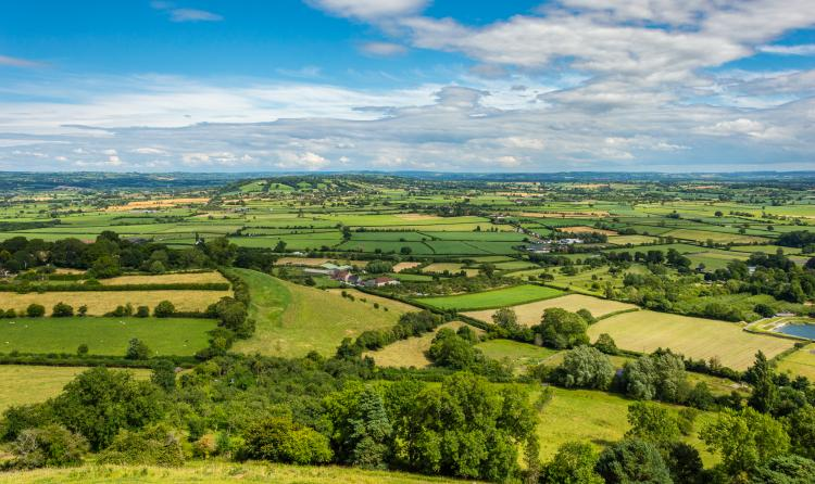 Birds eye view of the West of England