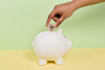 Coin into piggy bank pension scheme savings