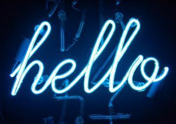 Hello neon light word